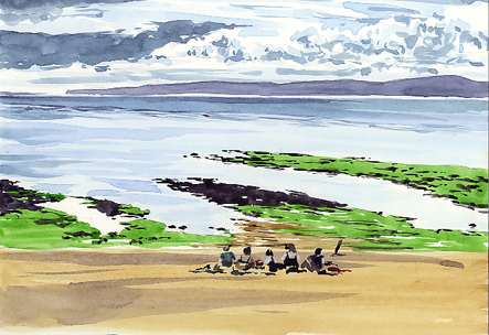 Watercolour sketch of a Family's Day Out , sitting on the beach.