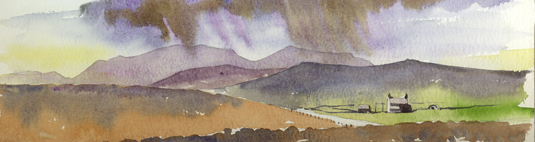 Watercolour sketch of the Hills Of Hoy