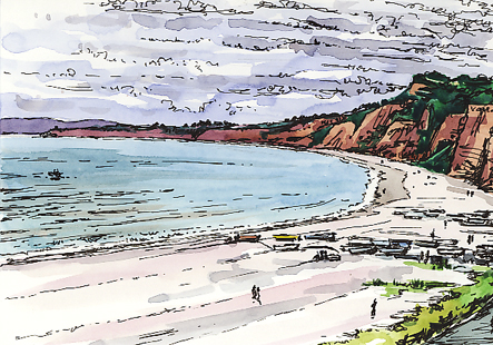 'Looking along the red cliffs of Devon'