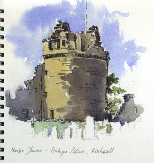 Watercolour sketch of the Moosie Tower in Kirkwall.