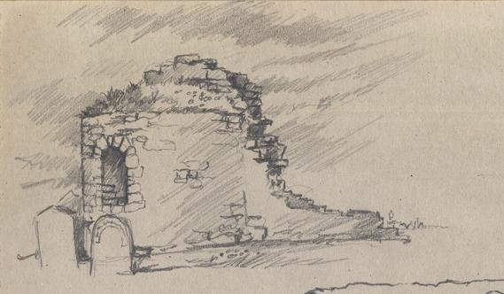 Pencil sketch of Orphir Round Kirk