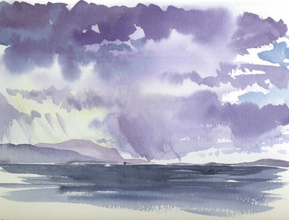 Watercolour sketch looking out across Scapa Flow