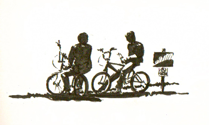 Pen sketch of 'Boys on Bikes'
