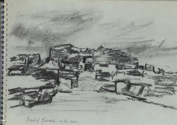 Charcoal sketch of the Brock of Gurness