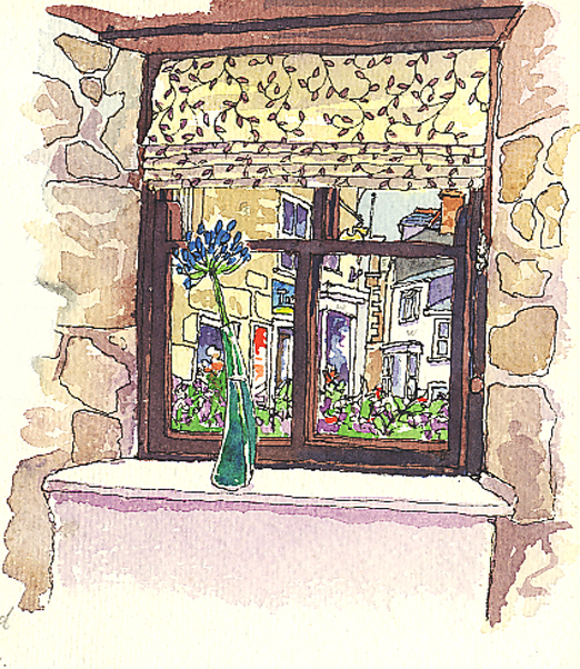 Pen and watercolour sketch looking out of a Cafe Window