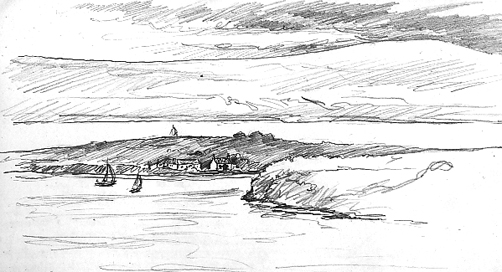 Pencil sketch of Calve Island and the Sound of Mull.