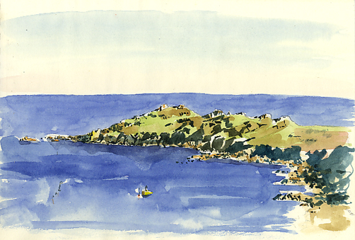 Watercolour sketch of Chynhalls Point from Coverack village.