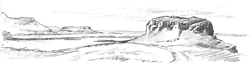 Pencil sketch of Dun Ara