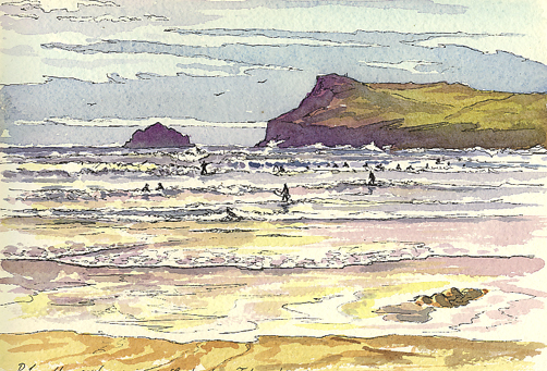 'Watercolour sketching at Polzeath'