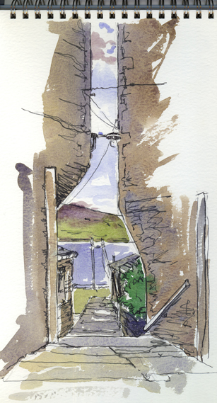 Watercolour sketch of a Sromness Ginnel