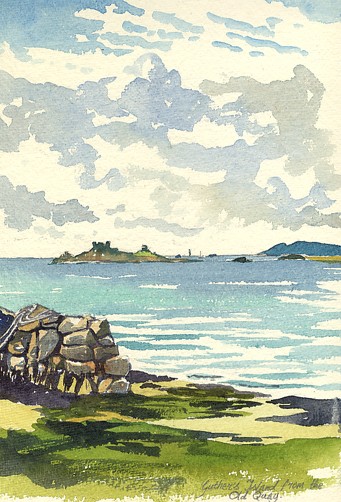 Watercolour sketch of Guther's Island, in Crow Sound.