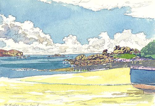 Watercolour sketch of the hotel quay beach