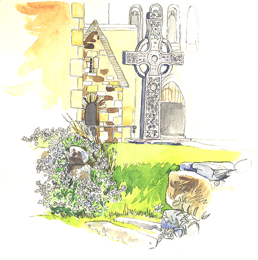 Watercolour sketch of a Cross at Iona Abbey.