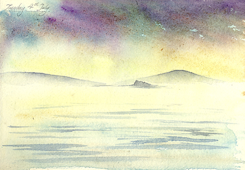 Watercolour sketch of Islands and Rocks loom from the fog and rain off St Martins.