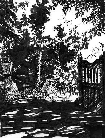 Pen sketch of a 'Leafy Drive'