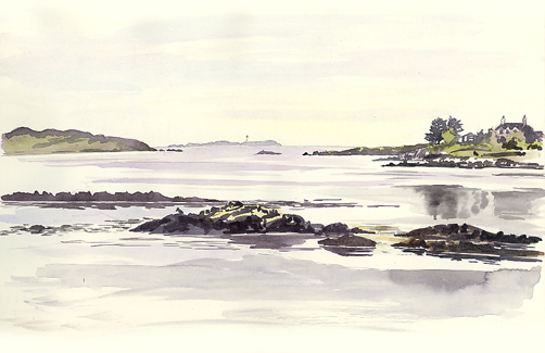Watercolour sketch of Loch na Lathaich from Bunessan.