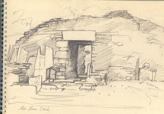 Pencil sketch of Midhowe Brock