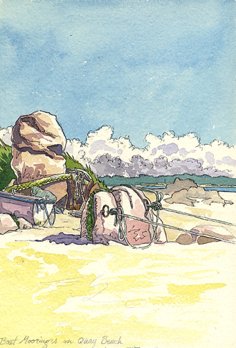 Watercolour sketch of a Mooring Rock on St Martin's.