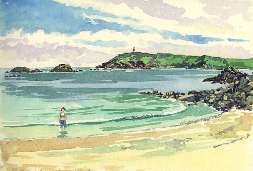 Watercolour sketch - Paddling in Little Bay