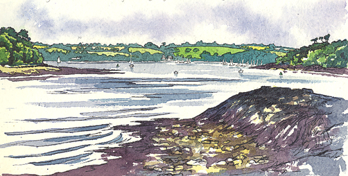 Watercolour sketch of Pandora Inn & Loe Beach
