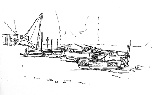 Pen sketch of Porthallow Pot Boats drawn up on the beach.