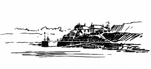 Pen sketch of Portscatho Harbour