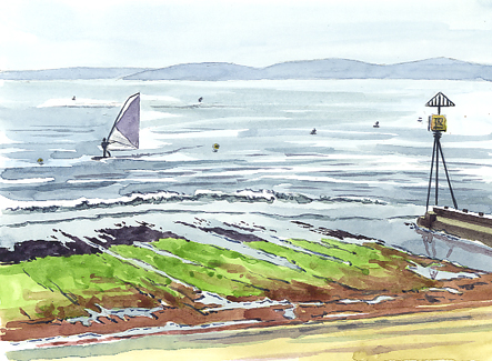 Watercolour sketch of a windsurfer 'Riding the flood tide.'