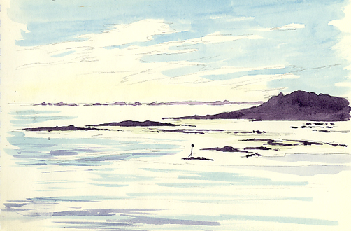 Watercolour sketch of Samson and the Outer Isles