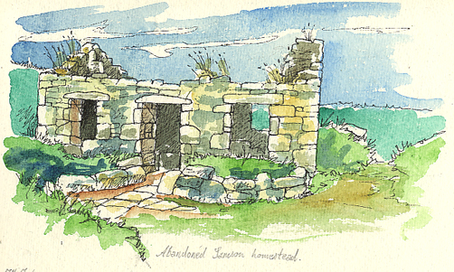 Pen and watercolour sketch of a Samson Ruined House