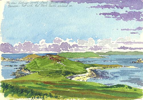 Watercolour sketch of Samson's North Hill