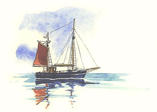 Watercolour sketch of the ketch 'Solais na Mara'