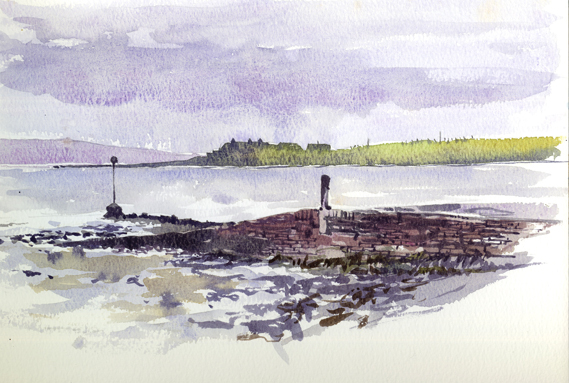 Watercolour sketch looking out across to St Margaret's Hope