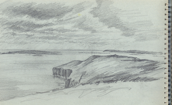 Pencil sketch of the Knee & Westray Firth