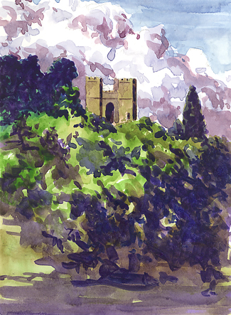 Watercolour sketch of Powderham's 'Tower in the Woods'
