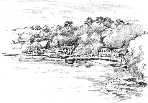 Pencil sketch of Treath from Helford