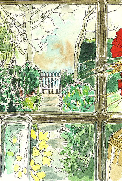 Watercolour and pen sketch of a view out of the window at the garden.