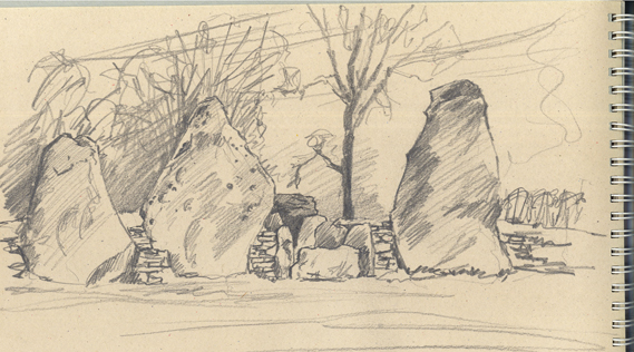Pencil sketch on coloured paper of Wetland's Smithy