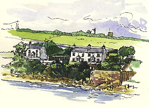 Watercolour and pen sketch of the Garrison Cottages on St Mary's.