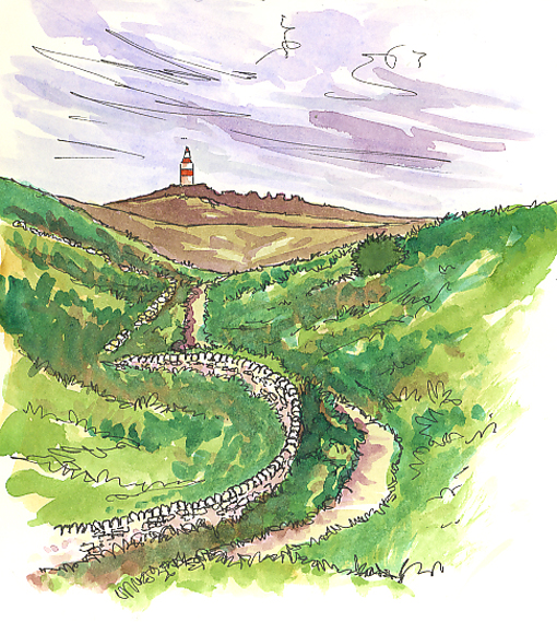 Watercolour and pen sketch of the path to the Daymark