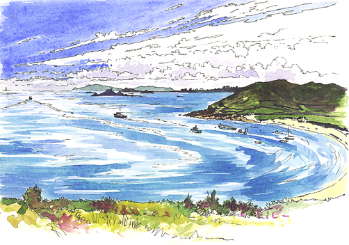 Watercolour and pen sketch of Higher Town Bay