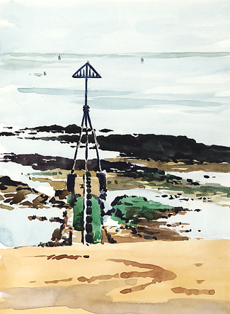 Watercolour sketch of a Groyne at Low Tide.