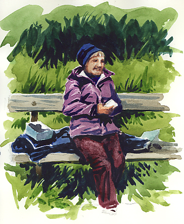 Watercolour sketch - 'Lunch at Otterton.'