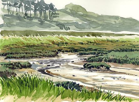 Watercolour sketch of the Otter Estuary