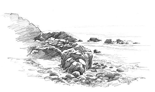 Pencil sketch of Rocks at Porth Nanven