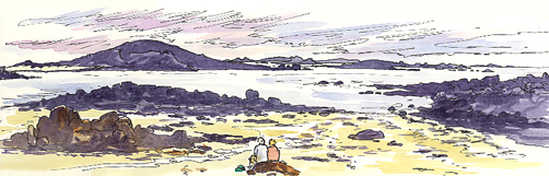 Watercolour and pen sketch of Rushy Bay. On the Isles of Scilly.