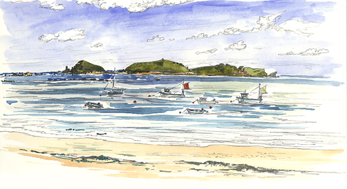 Watercolour sketch of Sheltered Higher Town Beach