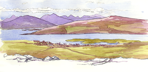 Watercolour sketch of Loch Sunart and the Sound of Mull