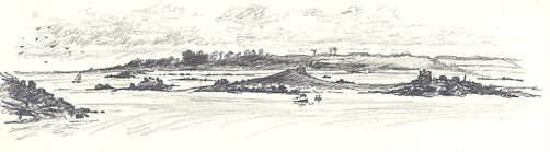 Pencil sketch of the South East of Tean