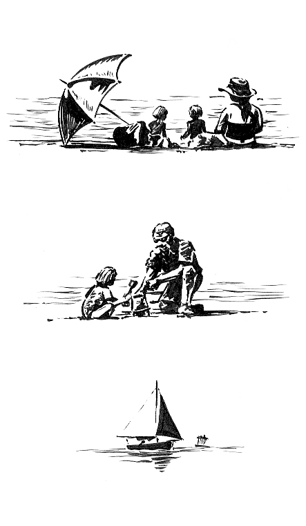 Pen sketches of people on the Exmouth beach.