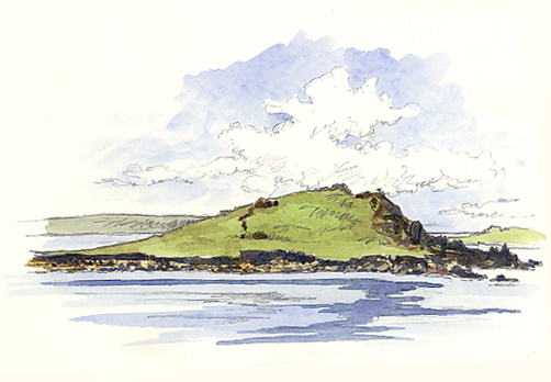 Watercolour sketch of the little island of Tean